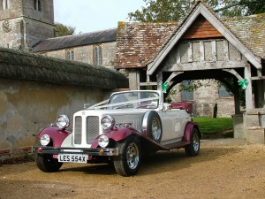 Beauford wedding car at Enford Church