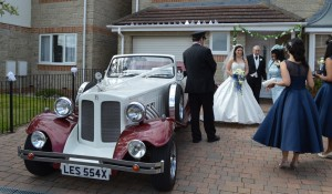 Tina and her Father with our Beauford wedding car