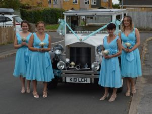 Tracy's bridesmaids with the Imperial wedding car