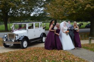 Laura arriving at Lydiard Church with her bridal party