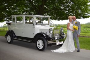 Judy & Geoff with Imperial wedding car