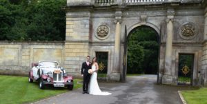Beauford wedding car with Hannah & Matthew