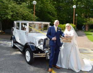 Hayley & Tristen with Imperial wedding car