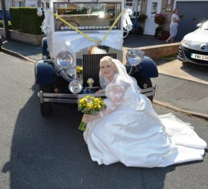 Hayley with Imperial wedding car