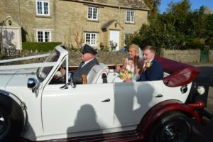 Beth & Adam in Beauford wedding car