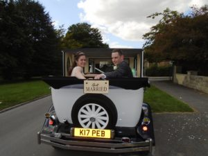 Rachael & Philip in Imperial wedding car