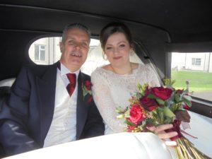 Sophie & her Father in Beauford wedding car