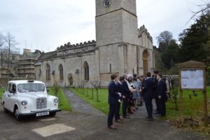 Fairway wedding car at Bibury Church